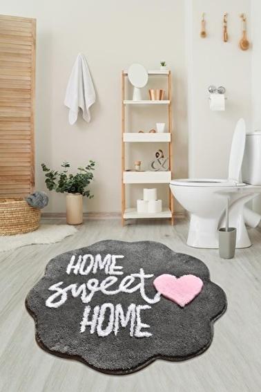Chilai Home Sweet Home Füme Yuvarlak Banyo Paspası Akrilik Halı 90X90 Cm Füme